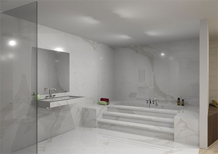 White marble floored bathroom